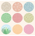 Colorful circles with flower and line patterns vector image
