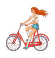 cute woman riding vintage bicycle vector image