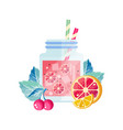 delicious summer cocktail with cherry lemon and vector image