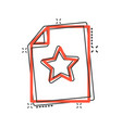 document with star icon in comic style wish list vector image vector image