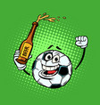 fans with a bottle beer football soccer ball vector image