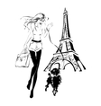 fashion woman with little dog near Eiffel Tower vector image vector image