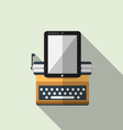 Flat icon of typewriter combine tablet vector image vector image