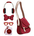 Handbag and other red objects vector image vector image