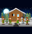 happy elf group standing in front of the snowing h vector image vector image