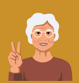 happy grandmother with smile on orange vector image