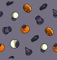 happy halloween outline isometric pattern vector image vector image