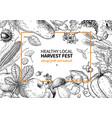 harvest festival hand drawn vintage frame vector image vector image