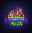 homemade pizza - neon sign on brick wall vector image vector image