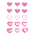 icon set pink hearts painted hearts from vector image vector image