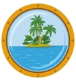 island with palm and bronze ship window vector image vector image