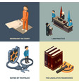 legal isometric concept lawyer judge richter vector image