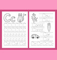 letter c tracing practice worksheet set learning vector image vector image