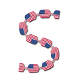 Letter S made of USA flags in form of candies vector image