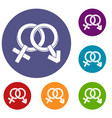 male and female signs icons set vector image vector image