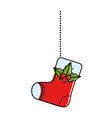 merry christmas socks decorative hanging vector image