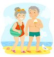 older couple at beach vector image vector image