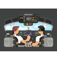 Pilots in cockpit flat design vector image vector image