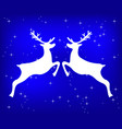 reindeer on a blue glittering christmas background vector image