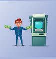 rich business man holding money cash over atm vector image