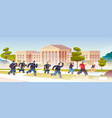 riot police officers attacking street protesters vector image vector image