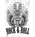 rock and roll poster template winged guitar on vector image