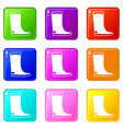 rubber boots icons 9 set vector image vector image