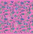 seamless pattern with cute fishes and seaweeds vector image vector image