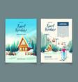 ski resort in mountains cartoon brochure vector image vector image