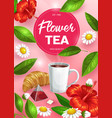 tea cup with herbal teabag green leaves flowers vector image vector image