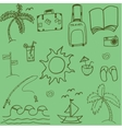 Travel doodle with green backgrounds vector image vector image