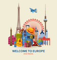 travel in europe concept european most famous vector image vector image