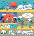 tuk rickshaw thailand banner set cartoon style vector image vector image
