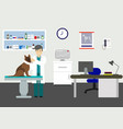 veterinary office with doctor and pets doctor vector image vector image