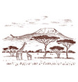 vintage african landscape safaris and wild vector image
