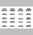 vintage classic car silhouettes and icons isolated vector image