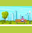 young man in park working with laptop vector image vector image