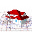 Architectural house technical draw vector image
