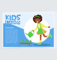 afro american girl watering plants with a watering vector image vector image