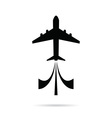 airplane icon in black color on white vector image