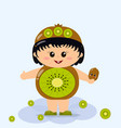 baby in a kiwi costume vector image vector image