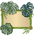bamboo frame with monstera vector image