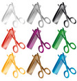 barber comb and scissors a set of several colors vector image