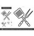 bbq tools line icon vector image