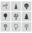 black trees icons set vector image vector image