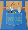 blue jeans apron with outsets and pocket vector image