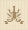bottle beer and wheat single colored label vector image vector image
