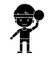 boy with ball playing hand up icon vector image