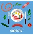 Breakfast with groceries flat design vector image