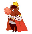 bull wearing royal mantle and gold crown king vector image vector image
